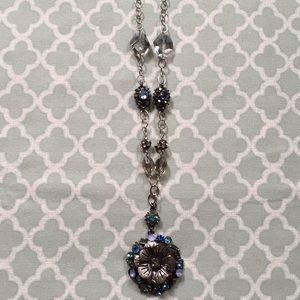 LOFT Long Jeweled Flower Necklace Gunmetal Blue
